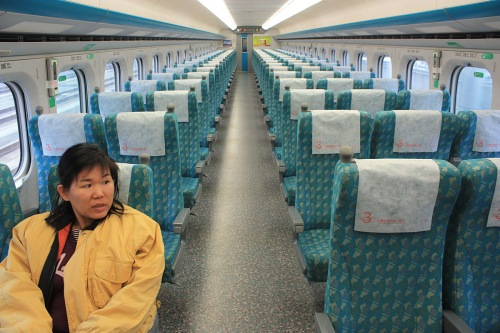 The Standard Class seating in the Taiwan HSR Bullet Train.